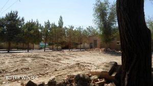 mosque demolition - bulldozer tracks