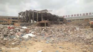 Framework of the mosque destroyed; no vestiges of the mosque remain