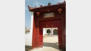 "Gate of the ""Farmers' Book House"" converted from the Taishan temple in Fengqiao town, Suiyang district, Shangqiu city, Henan Province on August 6, 2018."