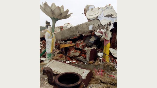 The Guanyin statue after being blown up