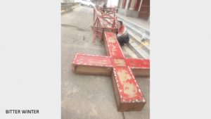 The cross has been removed from a Three-Self church in Xijie community, Chengguan town.
