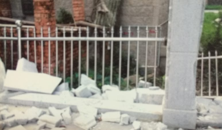 "Police destroyed some of the ""illegally constructed buildings"" in the village."