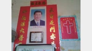 A portrait of Xi Jinping put up in the home of a Christian.