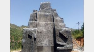 The Maitreya Buddha statue is covered (provided by an inside source)