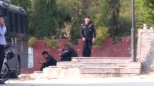 SWAT police guard the entrance to the mountain (provided by an inside source)