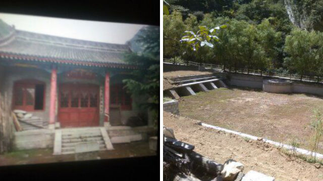 Bamboo Forest Temple before and after being demolished