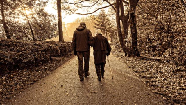 elders walking on the road
