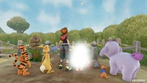 The trailed of Kingdom Hearts 3, with a white spot replacing the censored Pooh