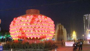 Chinese lanterns decorating the main square of Hotan