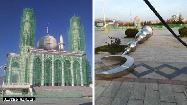 Crescent-moon symbols have been removed from the tops of two towers