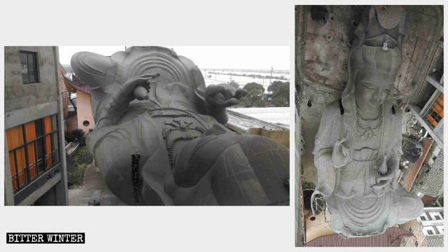 Guanyin statue is laid down flat on the ground