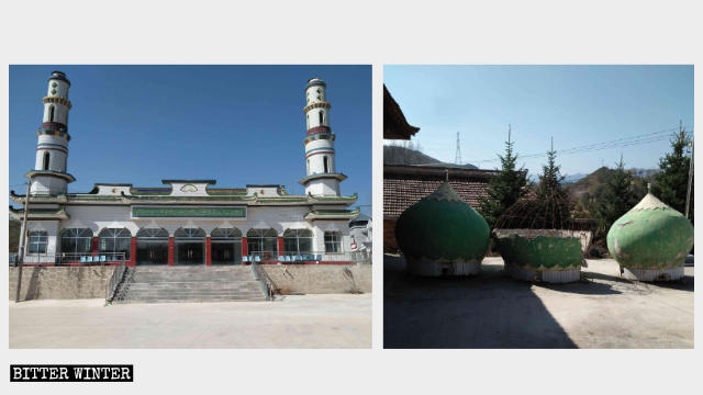 Islamic symbols were removed from the top of Shangyan Village Mosque