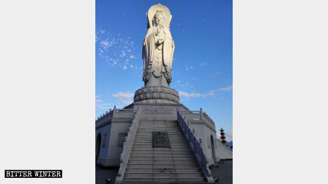 The original appearance of the Three-Faced Guanyin statue.
