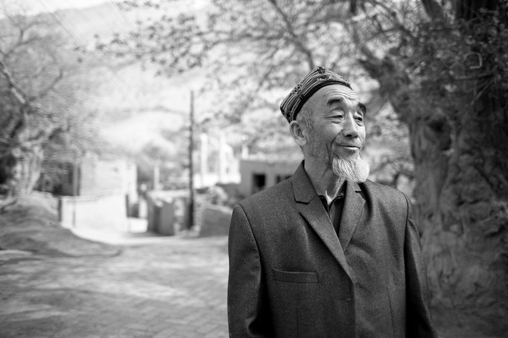An old Uyghur man in a village near Turpan.