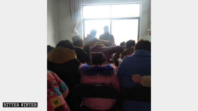 Believers are holding a gathering in a house church meeting venue in the Xincheng sub-district.