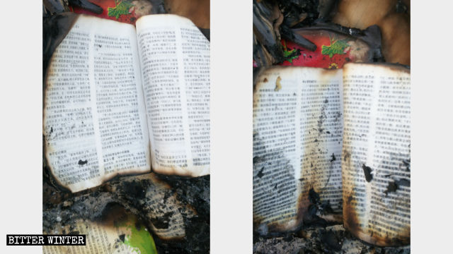 The salvaged burn Bibles.