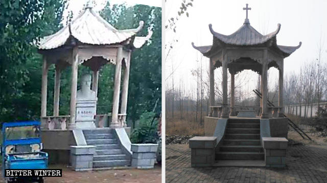 TA pavilion in the Catholic church in Wuyi county before and after the removal of the statue of the saint.