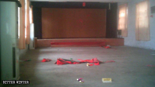 Everything was cleared out from the church, leaving it in disarray.