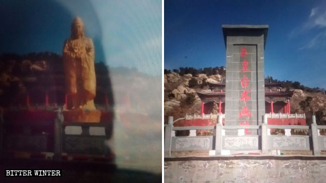 Guanyin statue is sealed off with marble slabs