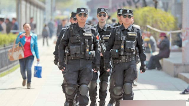 "Special police forces are often employed to ""maintain stability"" all over Xinjiang."