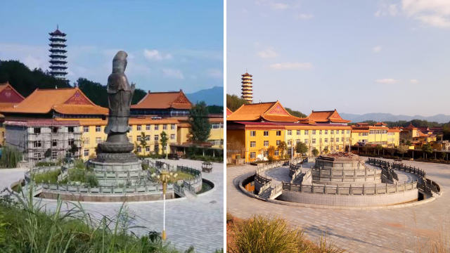 The bronze Guanyin statue before and after its demolition