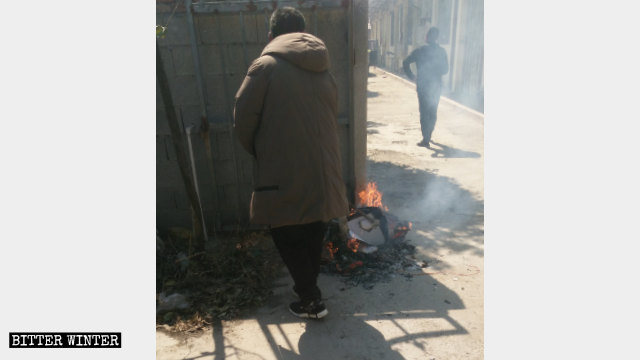 Government officials are burning Bibles and Christian books.