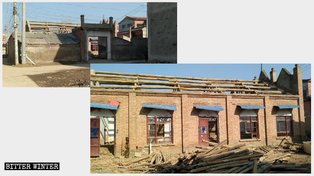The church in Yanwangmiao village is in the process of being demolished.
