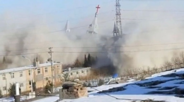 The destruction of Golden Lampstand Church, from a video by church members