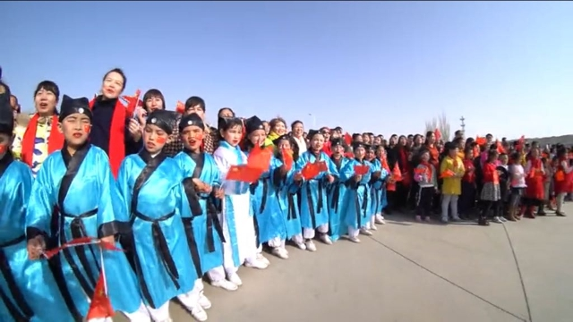 Uyghur children are forced to dress in ancient Chinese national costumes to welcome in the Uyghur Spring holiday, Navruz.