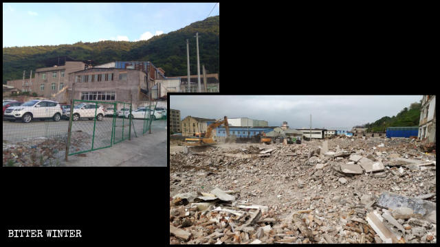 A house church meeting venue in Tangxia town before and after the demolition.