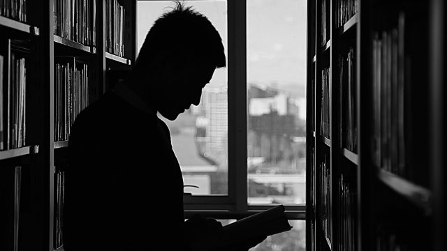 a man in a university library