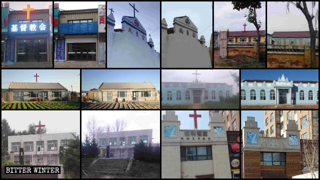 Crosses dismantled from over a hundred Christian meeting venues in Jilin Province