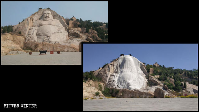 The Maitreya statue on Ink Stone Mountain before and after it was covered