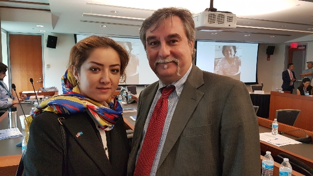 """Bitter Winter""'s Marco Respinti and Ms. Mihrigul Tursun, who gave an astonishing and at times tragic recount of the persecution she has suffered in Xinjiang"
