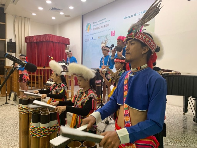 Taiwanese tribal musicians at the conference's official dinner