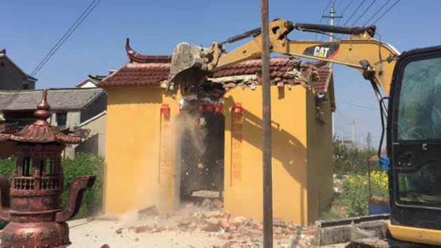 Within 26 days, nearly 6,000 Tudi temples were demolished in Jiangsu's Gaoyou city.