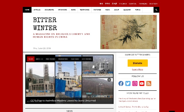 Homepage of the online magazine Bitter Winter