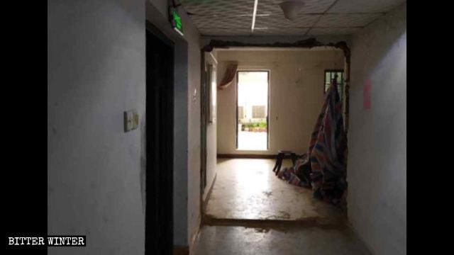 The meeting venue's door was demolished.