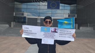 One-Kazakh Demonstration for Liberty and Justice in Front of the European Parliament