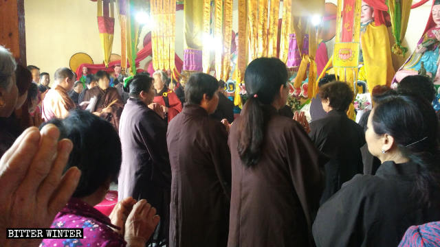 The abbot was publicizing Party's policies at a gathering of believers on May 19.