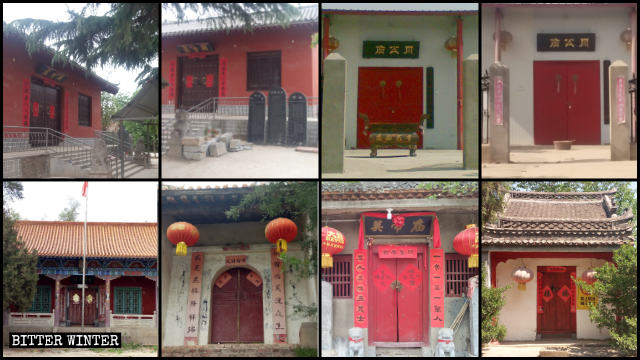 Eighteen temples in Guangwu town were shut down in mid-May.