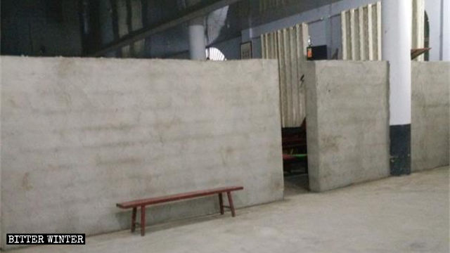 A wall was erected in the church's first-floor lobby
