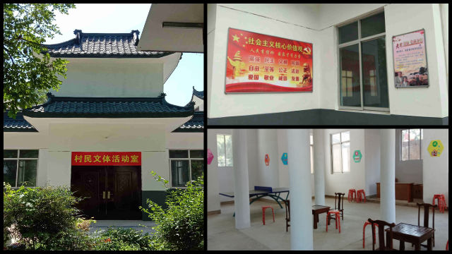 Entertainment supplies were placed inside the Catholic church in Luojiazhuang village.