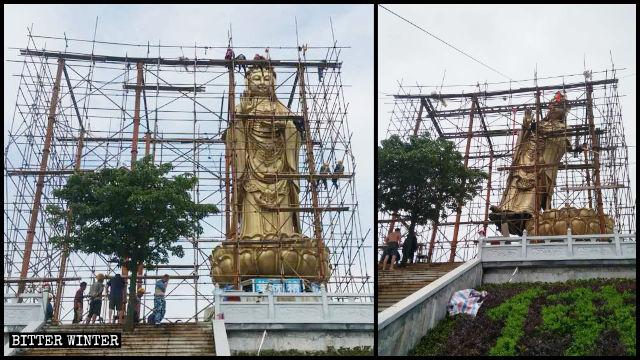 Guanyin statue Inside Qingguo Temple was being demolished