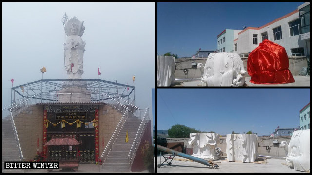 The Guanyin statue inside Xuanlong Temple in Datong city before and after being torn apart into fragments.