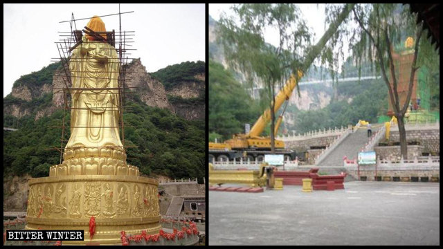The Guanyin statue was surrounded with scaffolding, and a large crane was used to dismantle it.