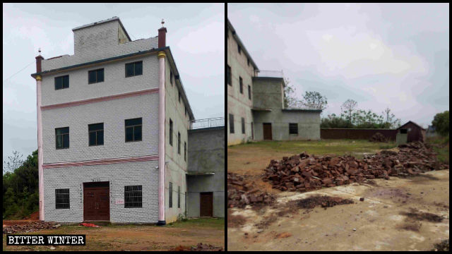 """Spires and Chinese characters for """"Christian Church"""" of Sanyuan Church were dismantled"""