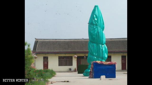 The Buddhist statues were covered with cloth
