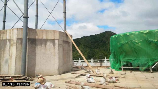 The lotus-shaped pedestal was demolished