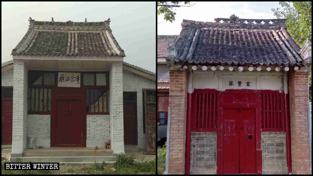 Two temples in Fengming town have been converted into warehouses